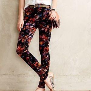 Anthro: Pilcro   Serif Floral Velvet Pants   Sz 27